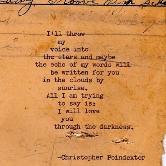 I'll throw my voice into the stars