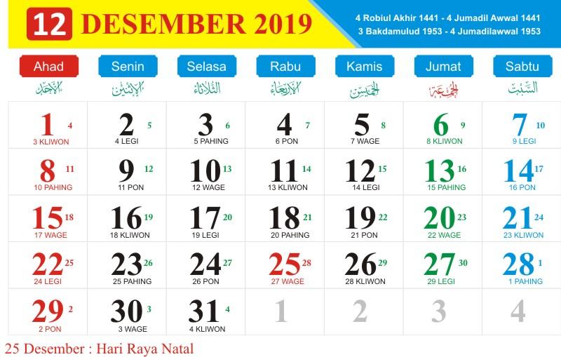 Kalender jawa desember 2019
