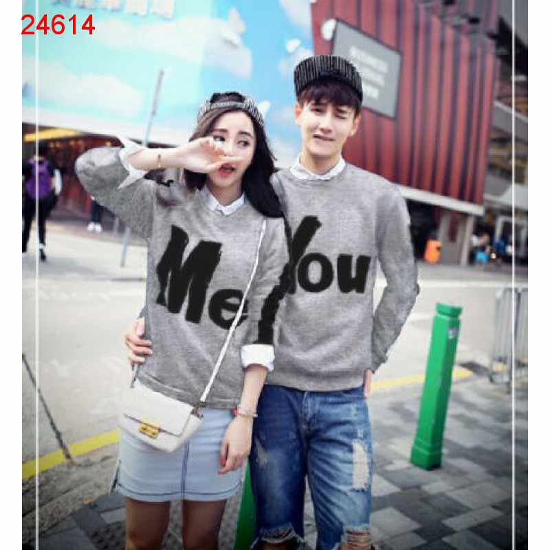 Jual Sweater Couple Sweater You Me Stripe Misty - 24614