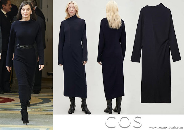 Queen Letizia wore Cos Draped-neck Ribbed Wool Dress