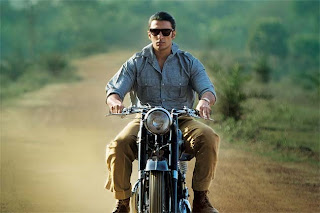 Ranveer Singh as Varun Shrivastav in Lootera, bike scene, riding the vintage bike, Directed by Vikramaditya Motwane