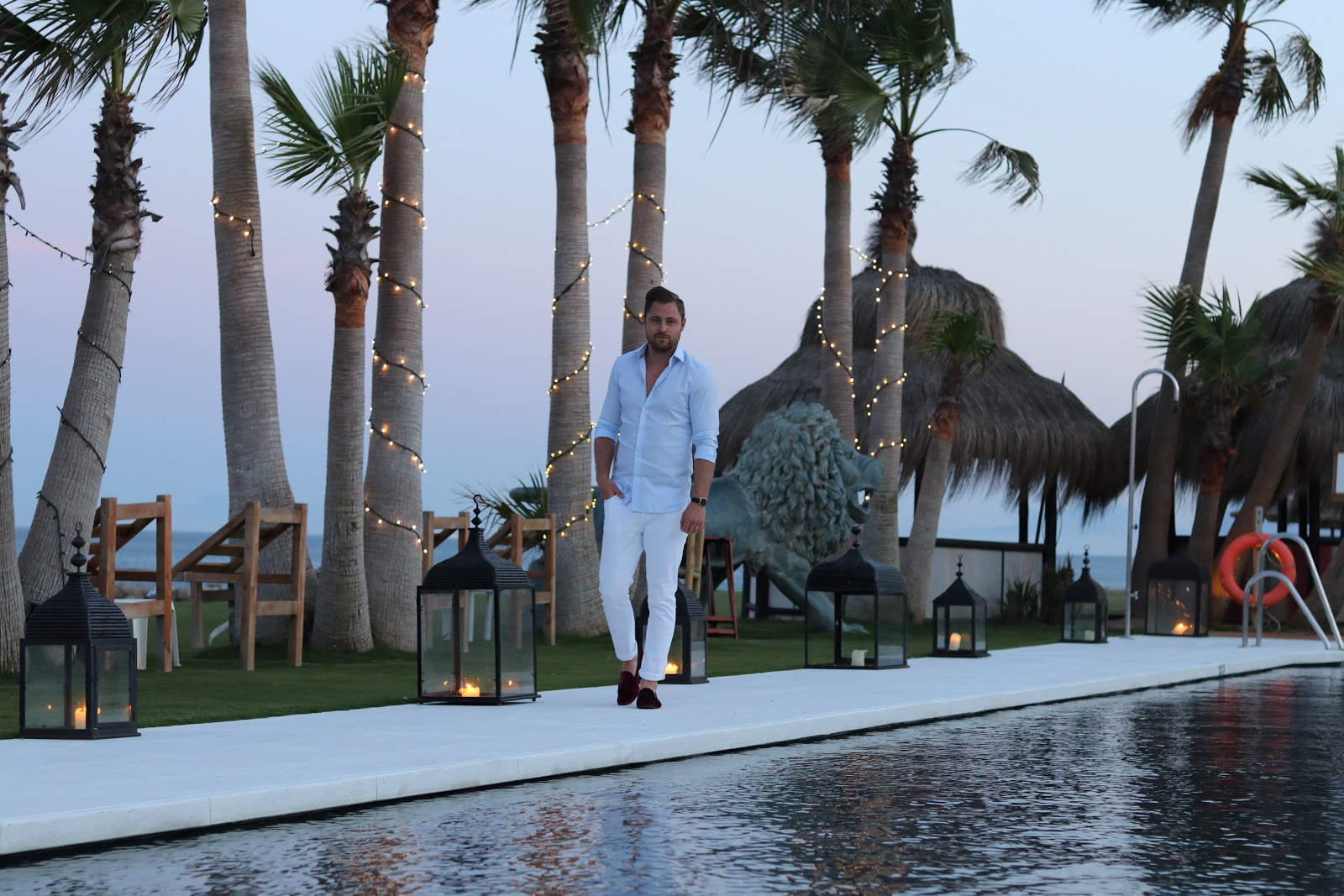 Ben Heath and a Sunset against Palm Trees at Trocadero in Sotogrande, Spain