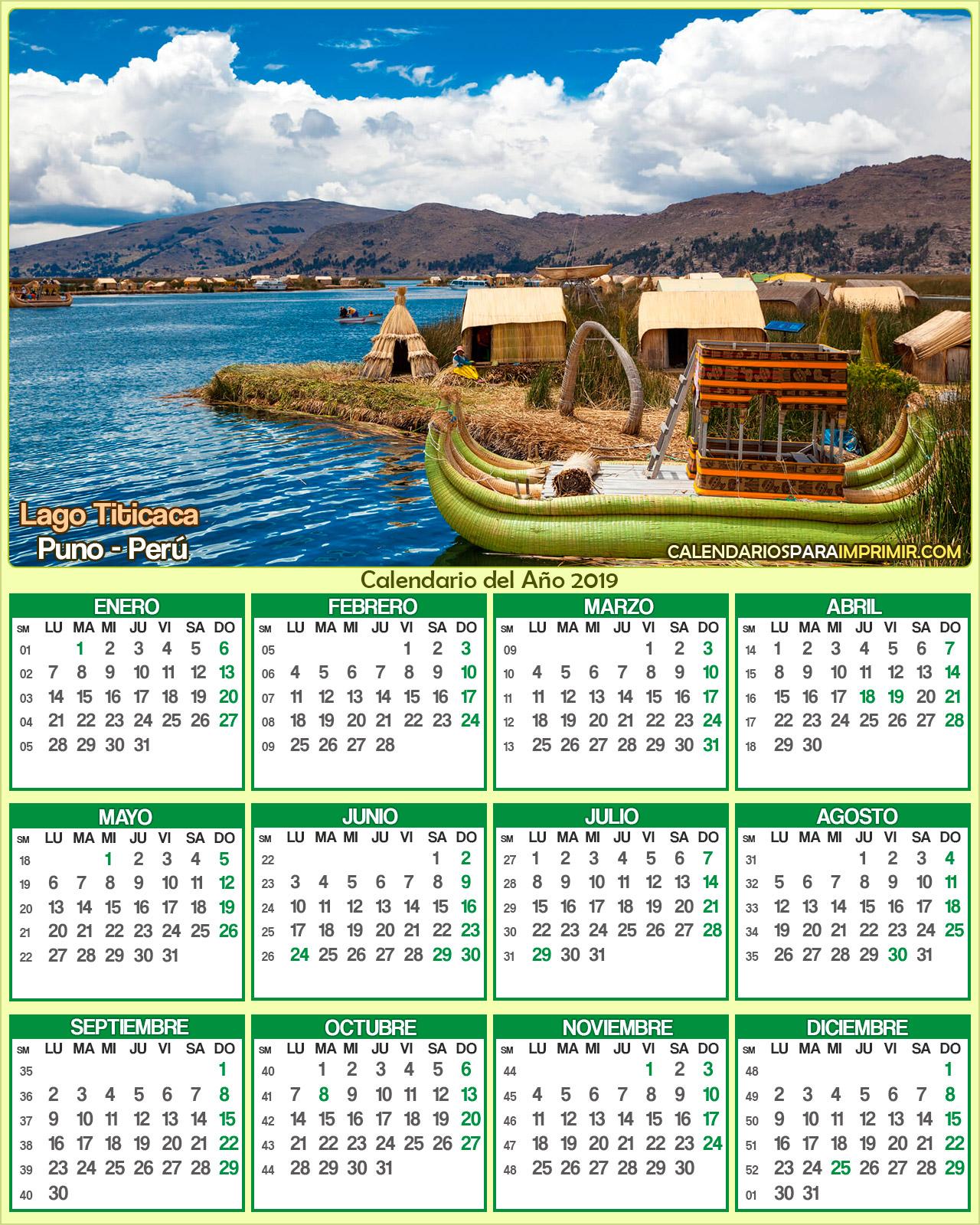 calendario peru 2019 titicaca puno