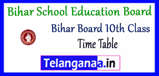 Bihar School Education Board Exam Time Table