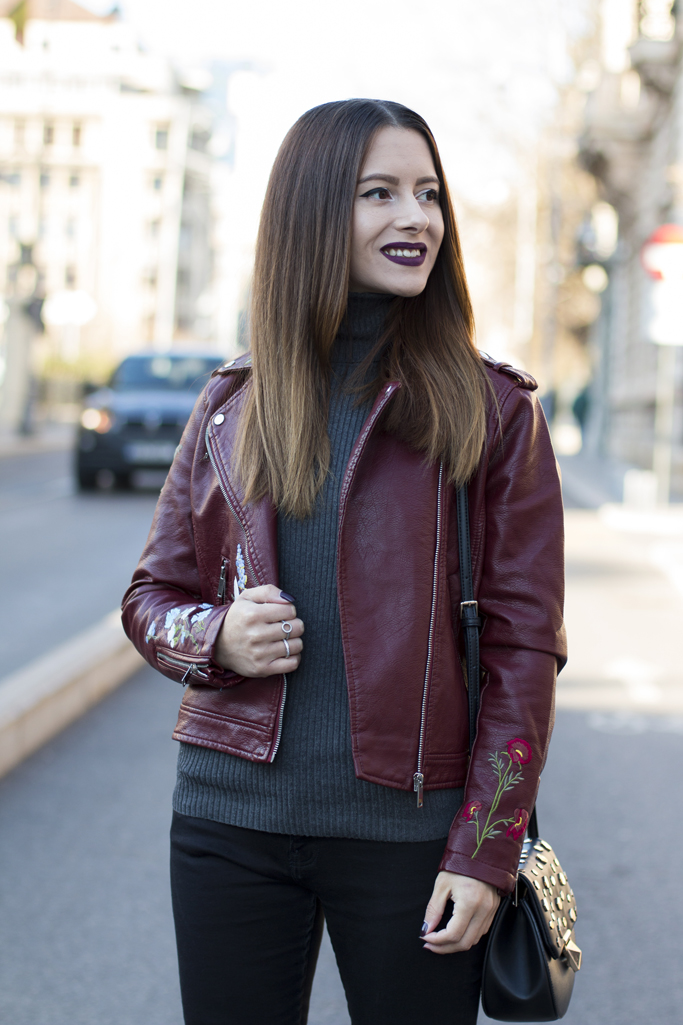 zaful review burgundy leather jacket