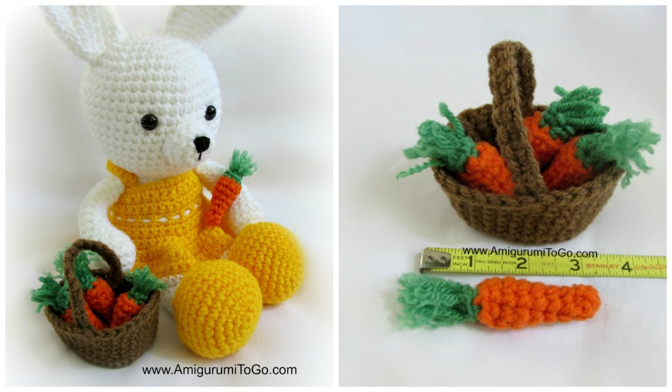 Crochet bunny with basket of carrots