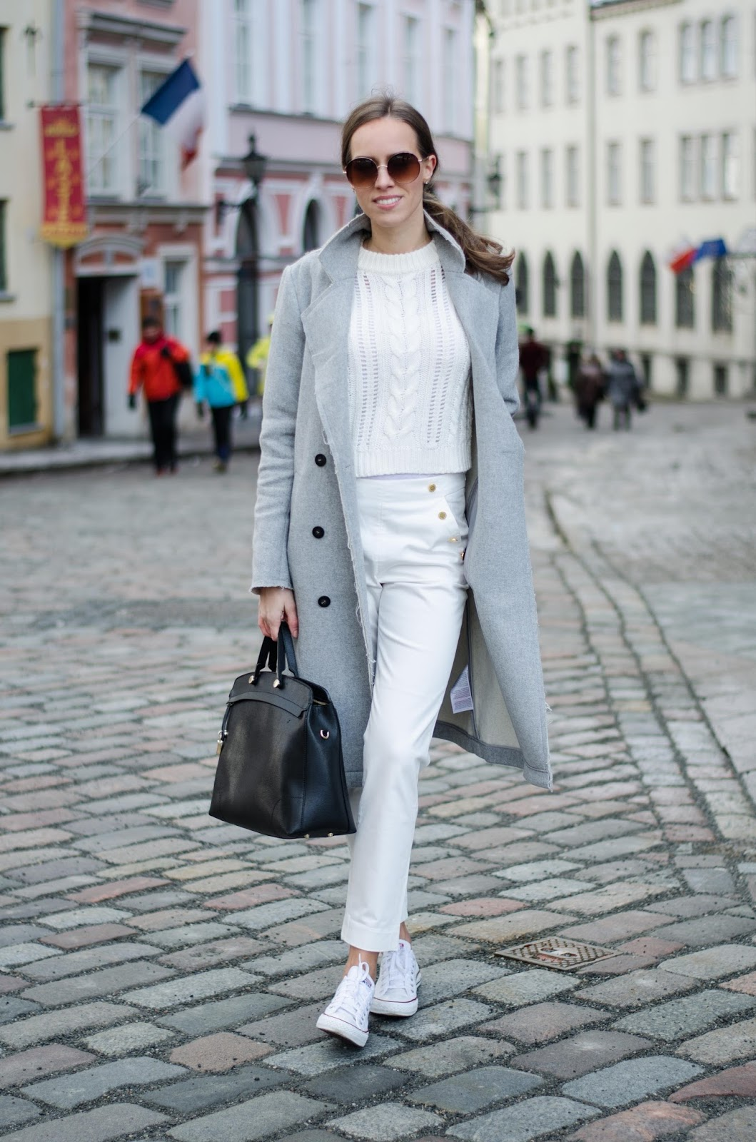 kristjaana mere spring white outfit marine pants cropped sweater wool coat converse sneakers