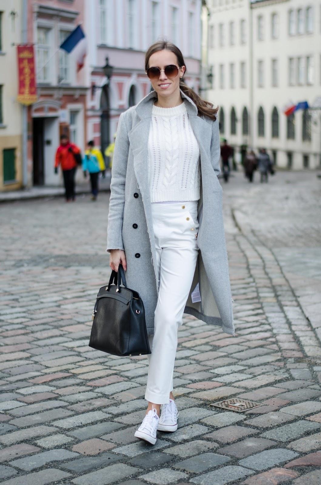 kristjaana mere spring white outfit marine pants cropped sweater wool coat converse sneakers