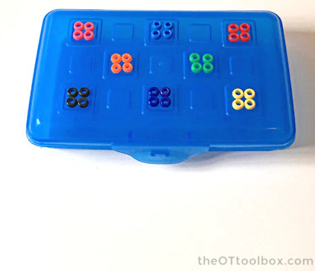 Use pony beads and a pencil box in pediatric occupational therapy activities for kids.