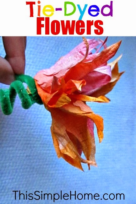 Easy paper towel tie-dyed flowers #craft #paper