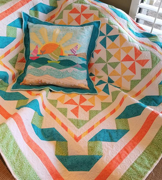 Beach Pillow with Flange Free Quilt Pattern