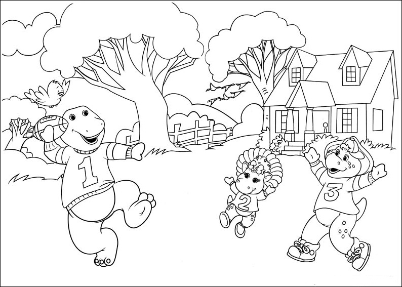 Coloring pages of barney at christmas ~ Fun Coloring Pages: Barney And Friends Coloring Pages