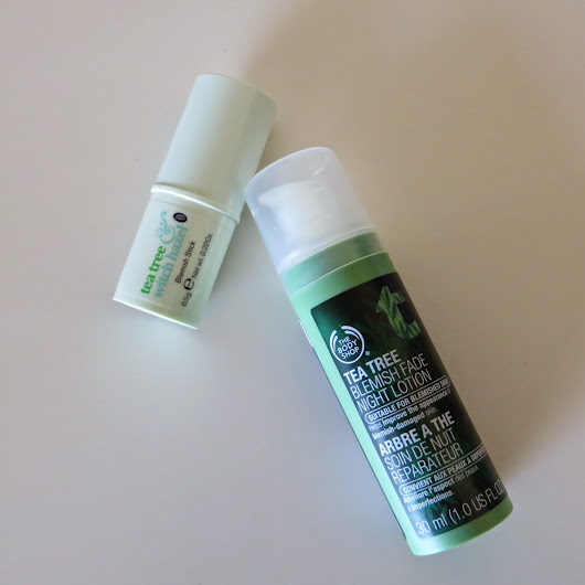 Boots Tea Tree & Witch Hazel Blemish Stick and The Body Shop Tea Tree Night Lotion