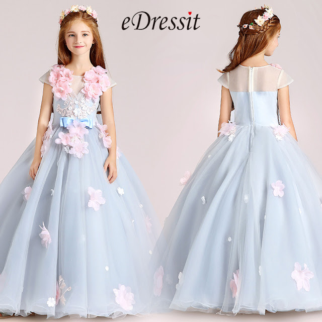 light blue handmade flowers princess flower girl dress