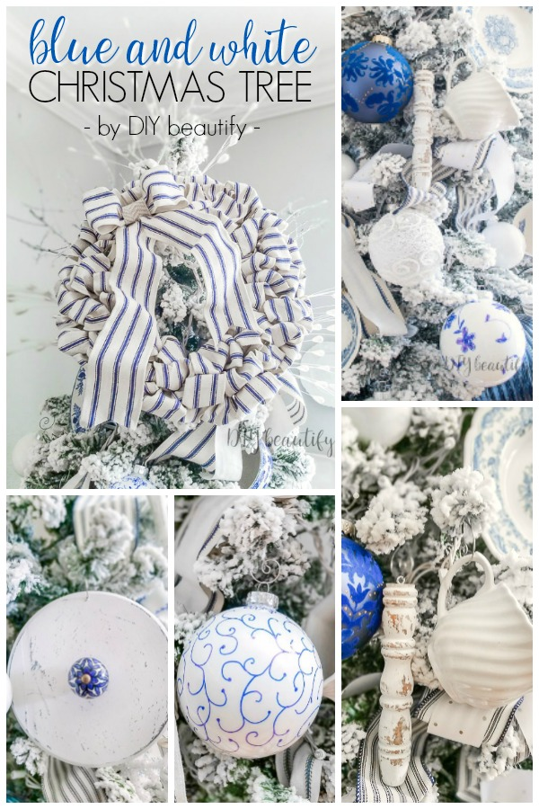 French farmhouse Christmas tree with blue and white by DIY beautify