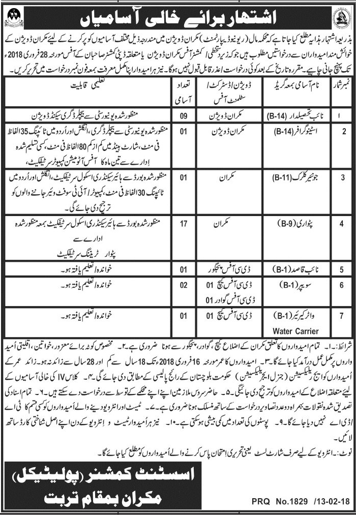 Jobs in Balochistan, Revenue Department Jobs, Govt Jobs, Naib Tehseeldar Jobs, Stenographer Jobs, Junior Clerk Jobs, Patwari Jobs, Naib Qasid Jobs, Sweeper Jobs, Water Carrier Jobs