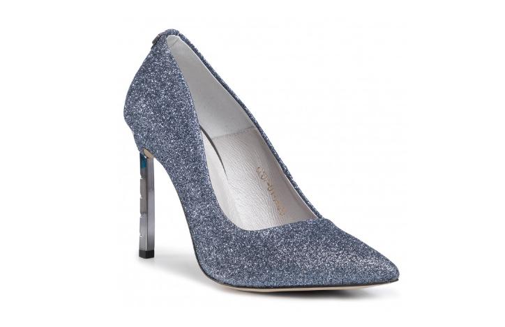 Pantofi de ocazii bleumarin cu glitter din piele naturala si toc inalt