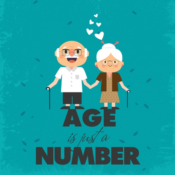 Age banner old man woman icons texts decor Free vector