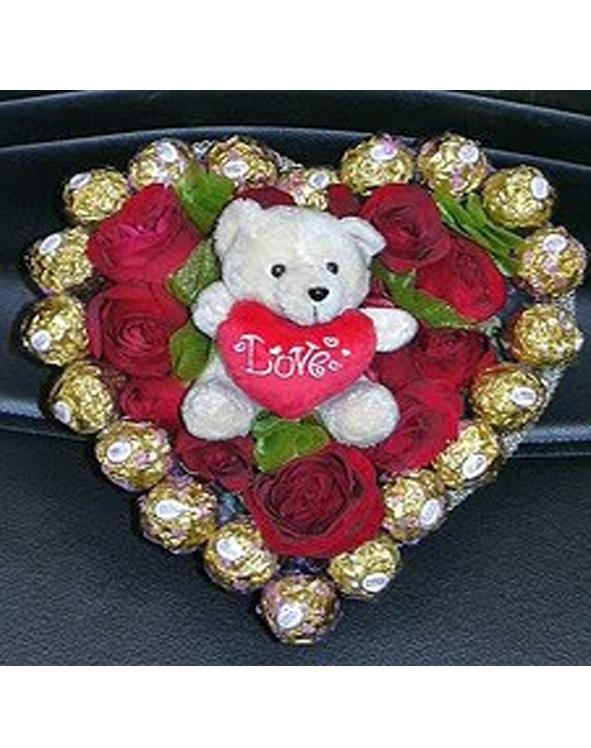 rangkaian bunga & cokelat bentuk love