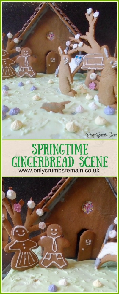 This 3D gingerbread scene was inspired by springtime and contains birds, hares and blossom trees alongside a house, people and a cat.