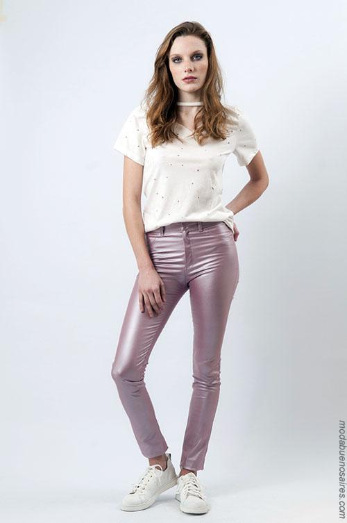 Pantalon satinado metalizado moda mujer verano 2018.