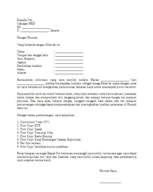 Contoh Surat Lamaran Kerja Di Rumah Sakit Yang Benar Di Banyuwangi Contoh Surat Lamaran Kerja