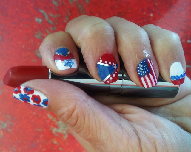 red white and blue nail designs