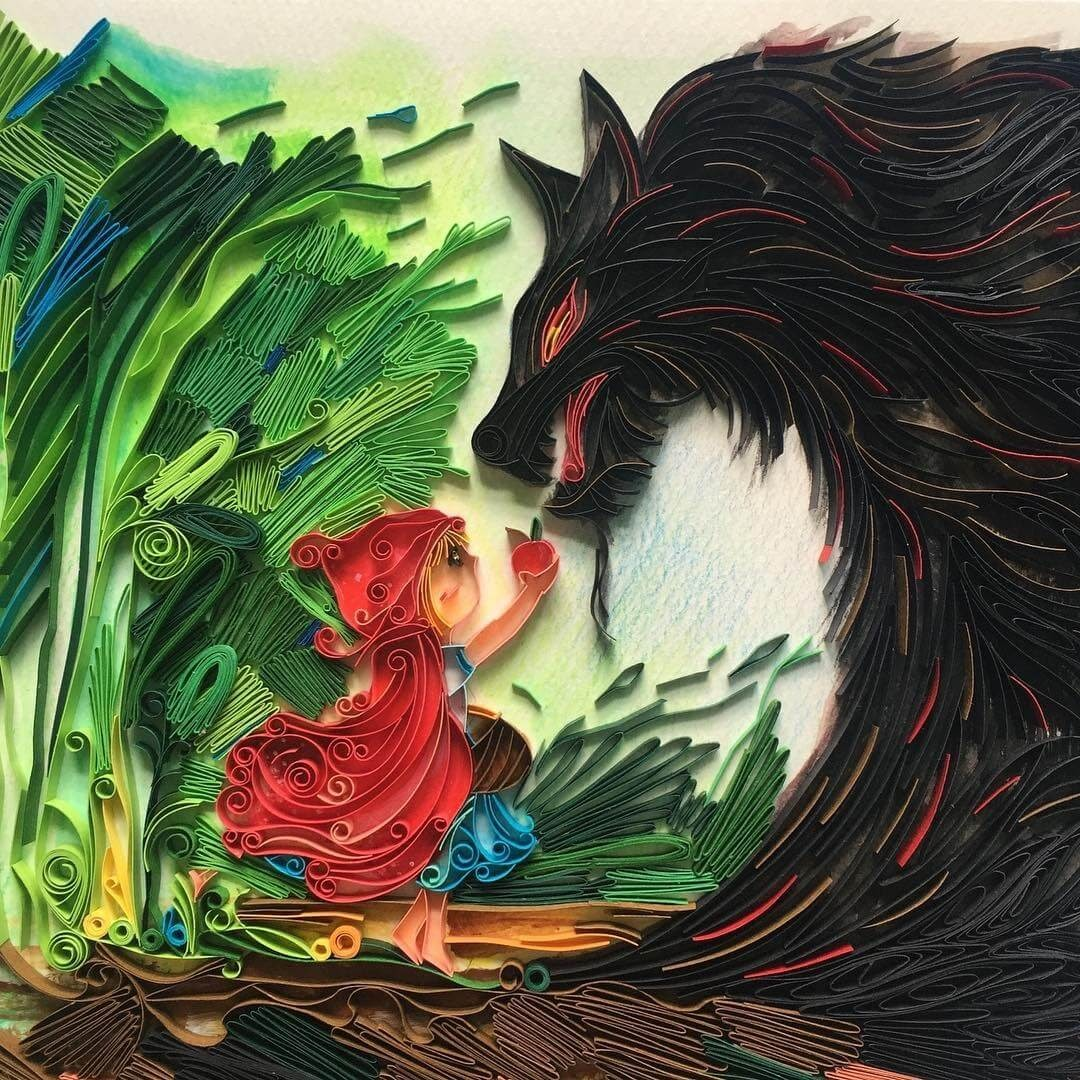01-Little-Red-Riding-Hood-and-The-Wolf-Wing-Paper-Quilling-Art-Designs-www-designstack-co