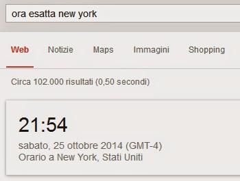 """Immagine che mostra il risultato su Google se cerchiamo """"ora esatta new york""""."""