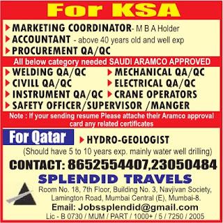 QA / QC Aramco project jobs in Saudi Arabia