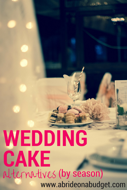 You don't HAVE to have a wedding cake. Don't want one? Get a few wedding cake alternative ideas from www.abrideonabudget.com.