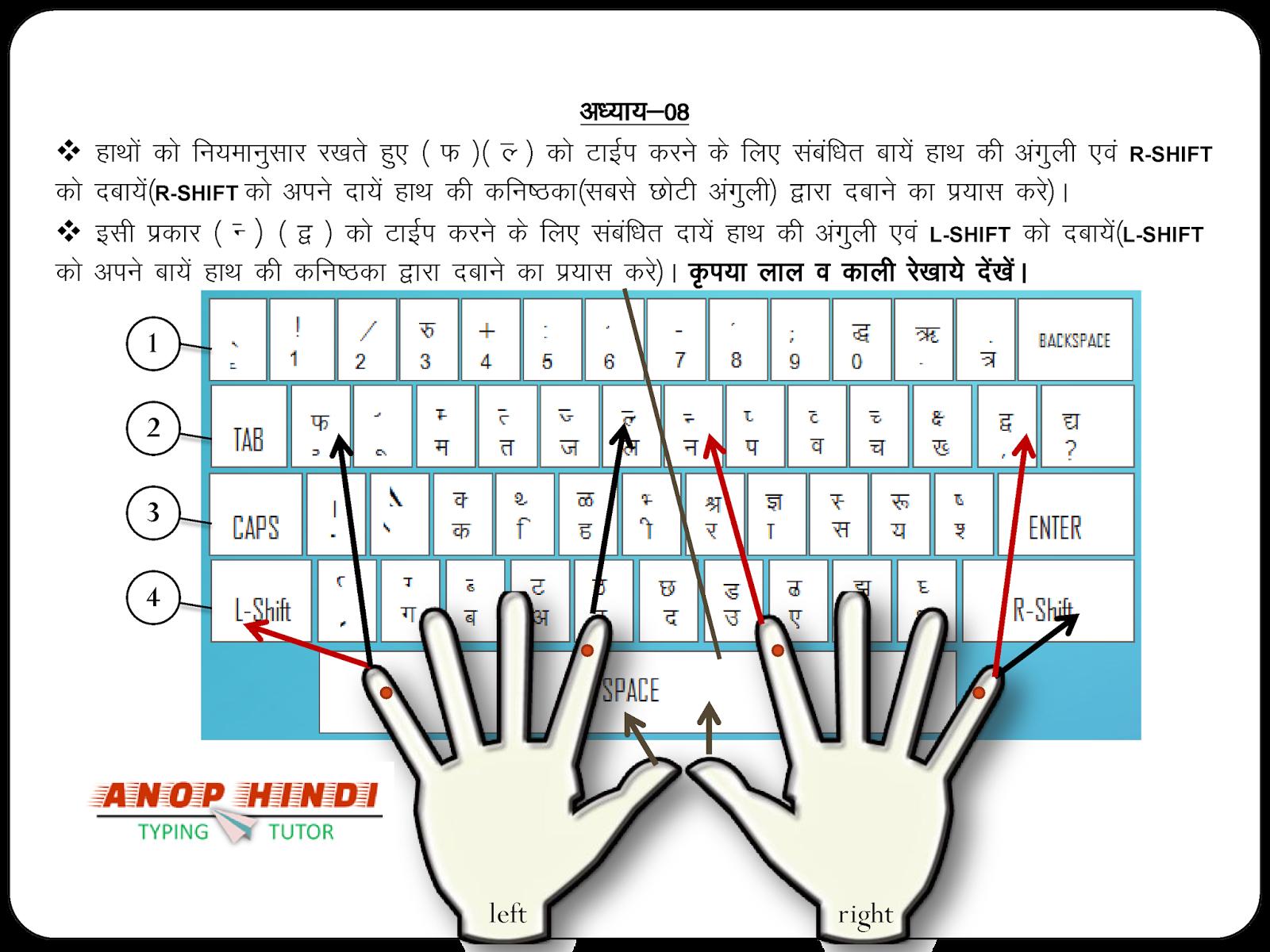 Anop Hindi Typing Tutor - Lesson 8