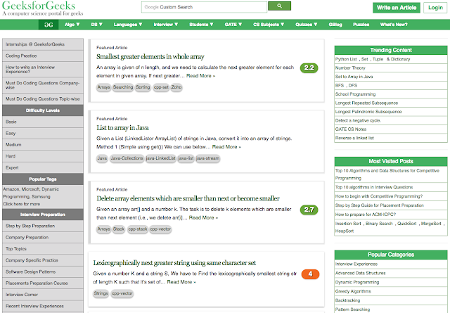 GeeksforGeeks Homepage