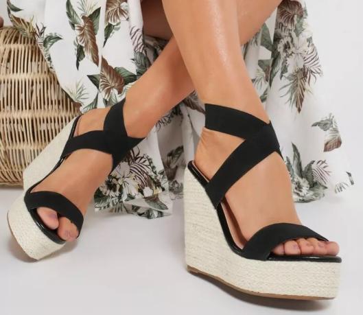 Sandale cu platforma inalta Negre ieftine de vara cu reducere