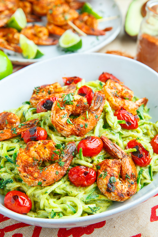 Creamy Avocado Zucchini Noodle Pasta with Taco Lime Grilled Shrimp