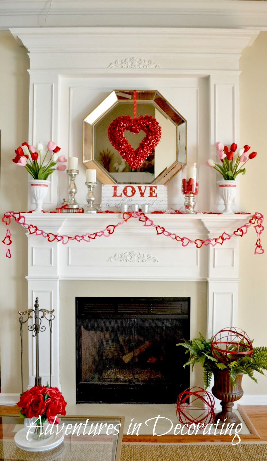 I Wanted To Share Our Valentine Mantel Before It S Time Transition An Easter Spring One