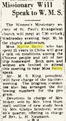 "Climbing My Family Tree: ""Missionary Will Speak to W. M. S."" 29 September 1942, Findlay Republican Courier, p 5"