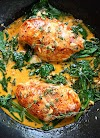 #Recipe : Paprika Chicken & Spinach with White Wine Butter Thyme Sauce