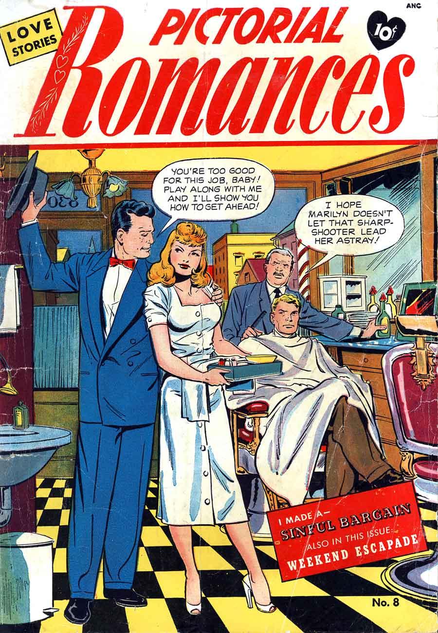 Pictorial Romances #8 st. john golden age 1950s romance comic book cover art by Matt Baker