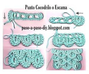 Cómo tejer Punto Cocodrilo o Escama al Crochet / DIY