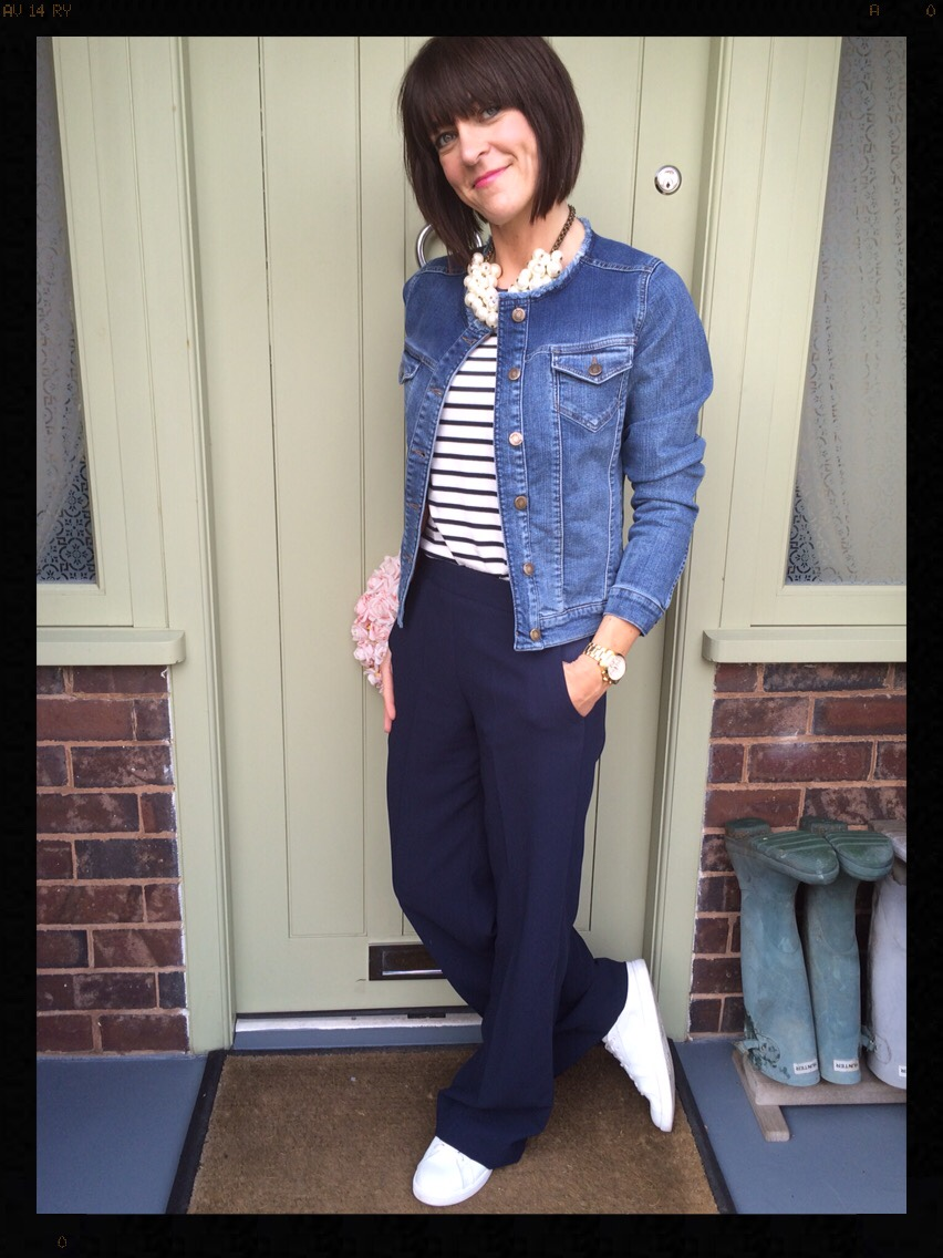 My Midlife Fashion, Boden, Zara, Mango, Trainers, Wide Legged Trousers, Stripes, Breton, Long Sleeved Breton, Pearls, Denim Jacket, Boden Amanda Jacket