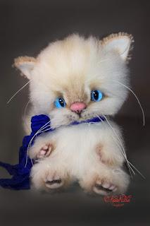 NatalKa Creations, Natalie Lachnitt, artist teddy bear, Künstlerteddy, white kitten, weisse Katze, пушистый белый кот, artist cat, teddy cat, авторская игрушка