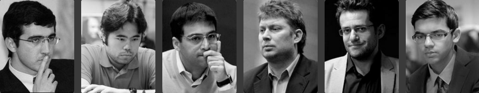 Six champions d'échecs d'exception – Vladimir Kramnik, Hikaru Nakamura, Viswanathan Anand, Alexei Shirov, Levon Aronian et Anish Giri
