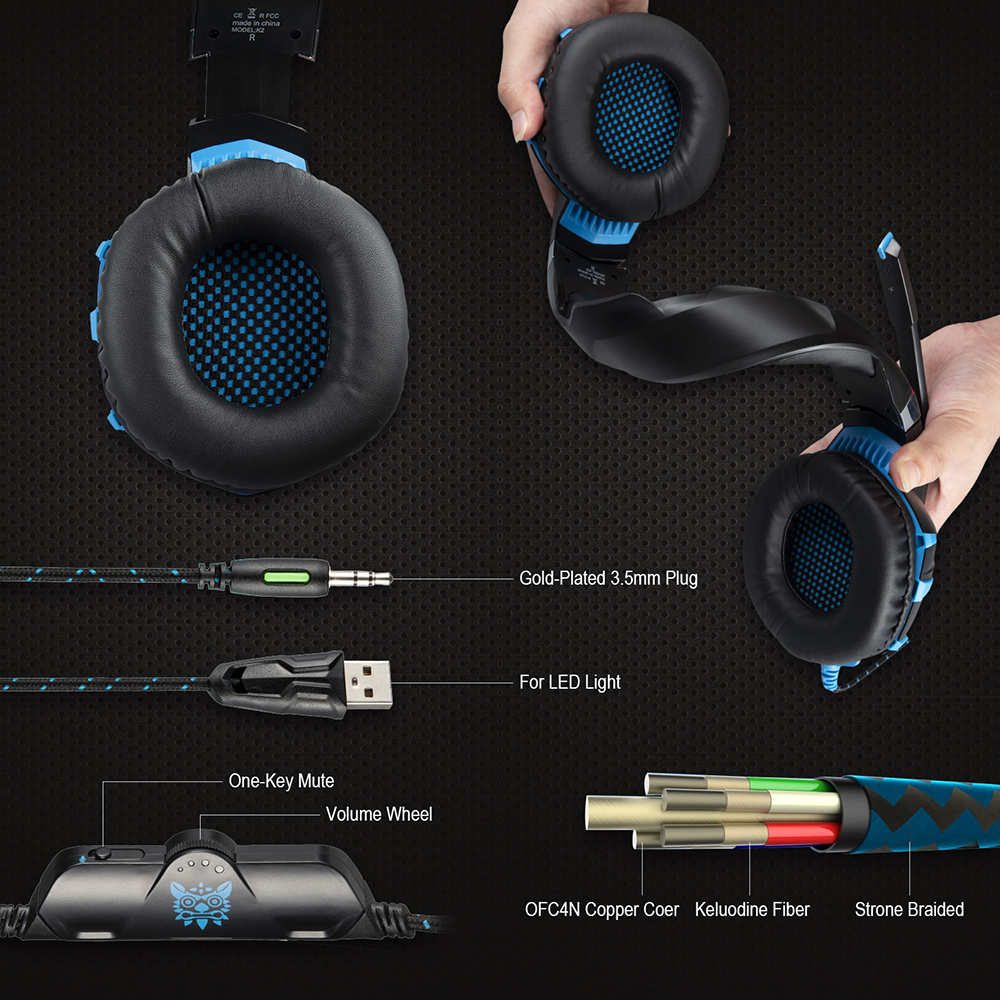 ONIKUMA K2A Gaming Headphone LED Light Noise Cancelling Wire