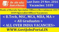 Bank of Baroda Specialist Officers Recruitment 2017