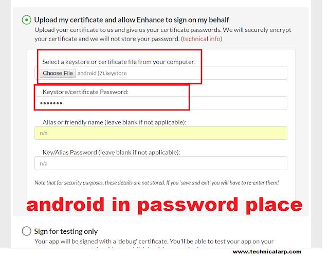 Upload KeyStore and Write Password