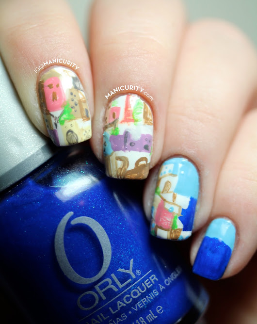 The Digit-al Dozen: Freehand Seaside Santorini Nail Art