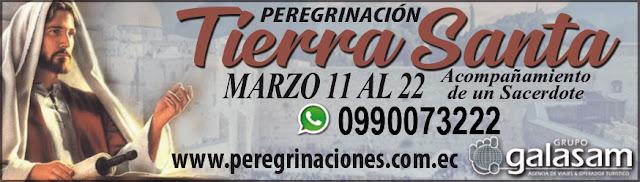 Peregrinación a Tierra Santa en Marzo 11 al 22 de 2019.