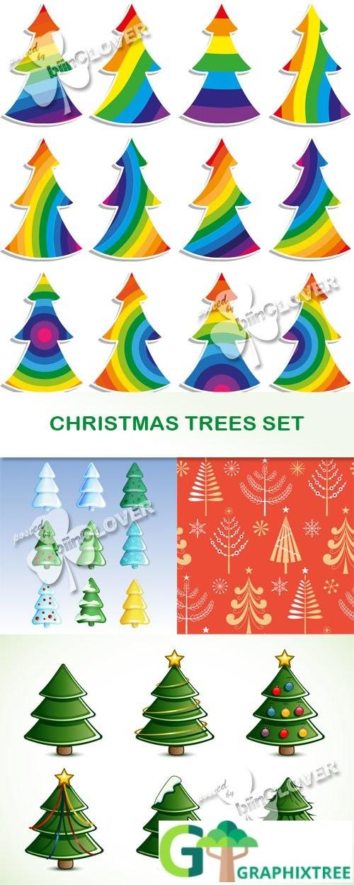Vector Christmas trees set 0516