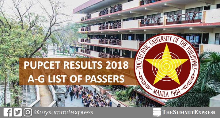 A-G List of Passers: PUPCET Results AY 2018-2019